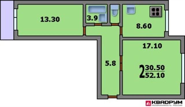 Дома серии п-46 - 3d планировка 2-комнатной квартиры вариант.