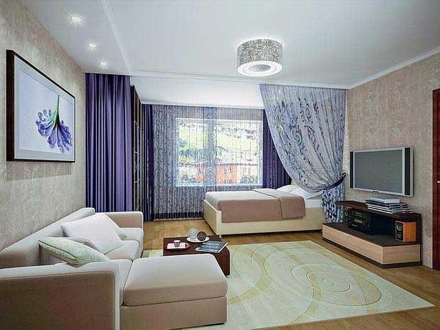Дизайн спальни с диваном и кроватью