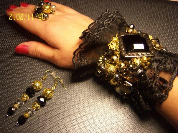 Оригинальные украшения своими руками / бижутерия из ткани 23