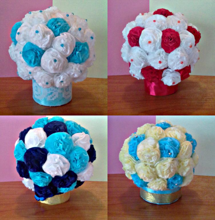 Сделать цветы для топиария из салфеток своими руками