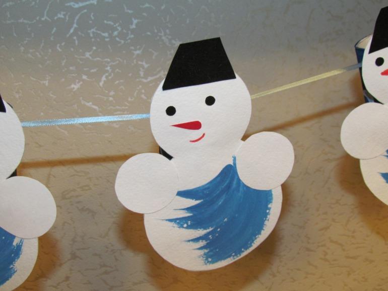 Как сделать гирлянду из снеговика из бумаги