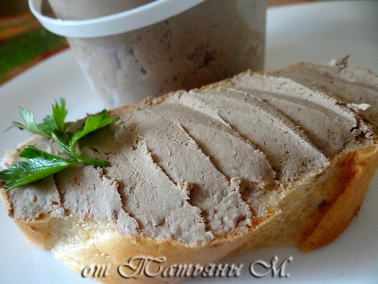Паштет нежный из печени цыпленка (мультиварка, быстро и просто)