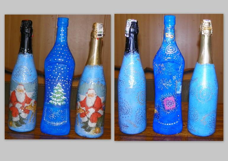 Новогодний декупаж бутылочек