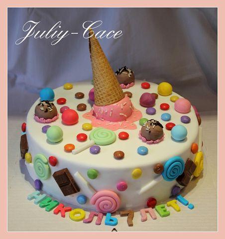 Торт с вафельным рожком от мороженого