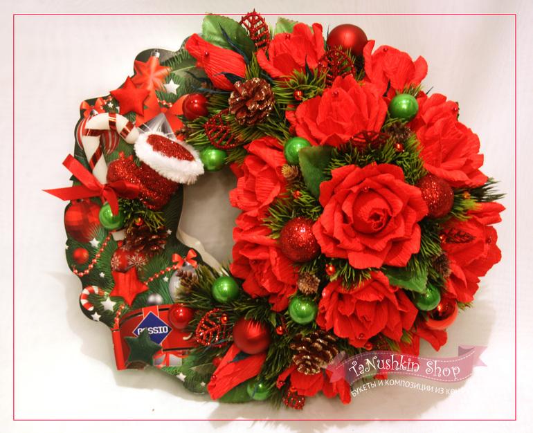 Рождественские венки из конфет своими руками 64