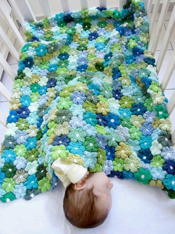Вязание покрывала из цветов