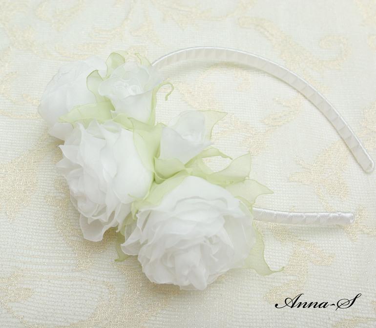 """Ободочек """" Белоснежные розы """""""