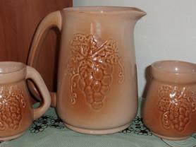 Набор керамический: кувшин и две кружки (СССР)