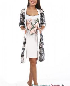 Комплект женский Барокко сорочка и халат (кулирка)