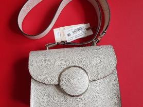 Новая кожаная сумка Италия белый металлик