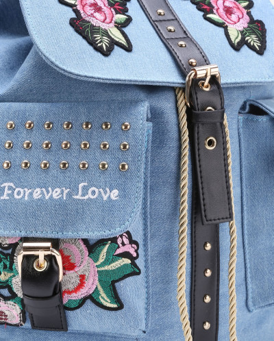 Вышивка на джинсовом рюкзаке 11
