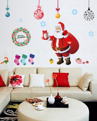 Интерьерная многоразовая наклейка «Веселый Санта»