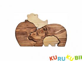 Деревянный пазл Медвежья Семья