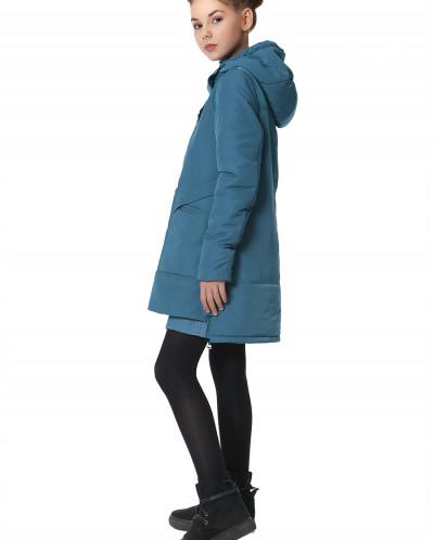 """Пальто """"Шелли"""" сине-зеленое"""