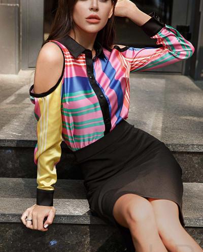 Шелковая блуза color block