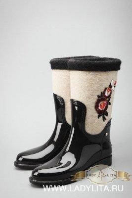 Женские модельные сапоги Войлок Беж./черные/разноцвет