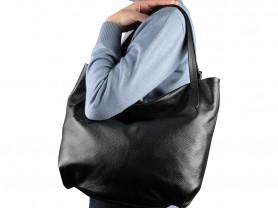 Новая большая черная кожаная сумка Италия А4