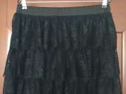 Юбка новая чёрная Paola Conte размер 46 М кружевная оборки кружева гипюр клёш