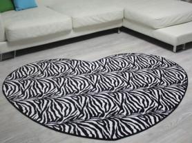 Черный ковер с рисунком зебра ZebraOne 120 x 150см