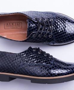 Туфли из натуральной синей лаковой кожи №303-4