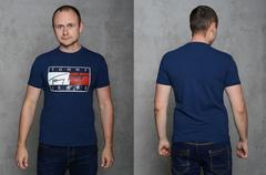 """Футболка Мужская 2202 """"TOMMY"""" Темно-Синяя"""