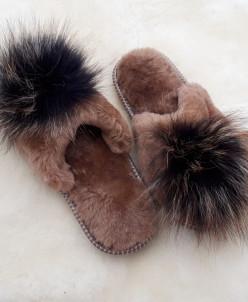 Тапочки женские Коричневые. 100% овчина
