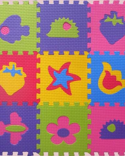 Мягкий пол 33*33*0,9 см цветной микс с картинками, 9 деталей