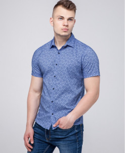 Синяя молодежная рубашка Semco комфортная модель