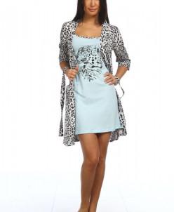 Комплект женский Леопард (сорочка и халат)