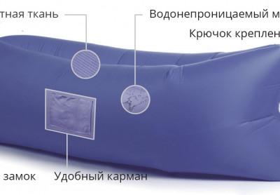 Надувной лежак Lamzac (Ламзак) с карманами васильковый