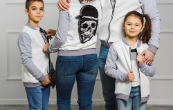 "Комплект бомберов мама+папа+сын ""Веселый Роджер"""