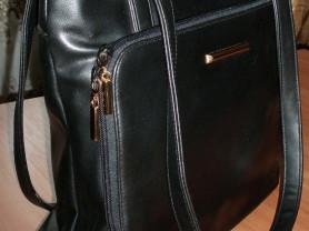 Сумка черная мягкая кожзам 28х30 см