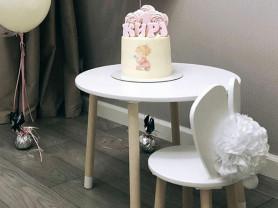 Детский столик белый + стульчик зайка