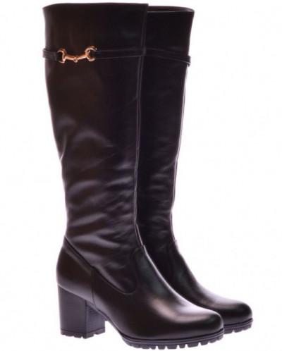 Женские кожаные сапоги на каблуке (байка/экомех/цигейка)