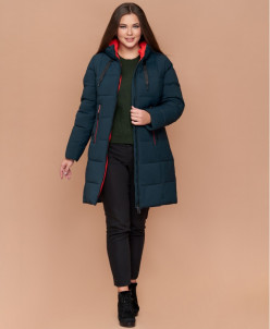 Комфортная женская темно-зеленая куртка большого размера мод
