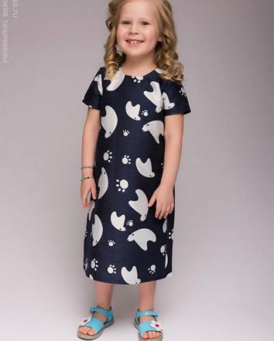 """Детское темно-синее платье с принтом """"мишки"""""""