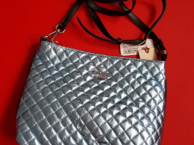 Новая кожаная сумка Италия металлик