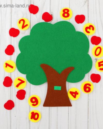"Развивающий коврик учим цифры ""Дерево"" из фетра"