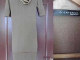 Платье D Exterior Италия размер М 46 б/у шерсть бежевое футляр по фигуре вязаное с хомутом ткань шёлк золотой рукава короткие зимнее тёплое Одежда бренд кашемир Ангора платья
