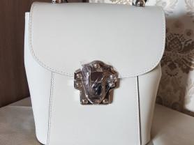 Новый элегантный кожаный рюкзак белый