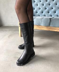 Сапоги из натуральной черной кожи №80-4 (идеал) 19