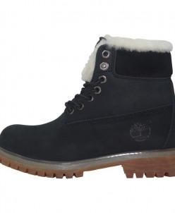 Ботинки Timberland 18027 черные с мехом на язычке
