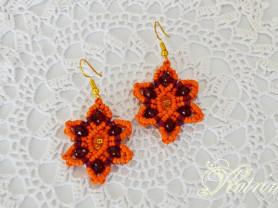 Небольшие серьги макраме. Оранжевый цветок.