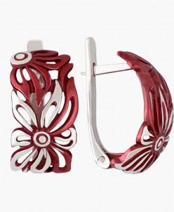 Серьги Лето серебро с красной нанокерамикой Юмила