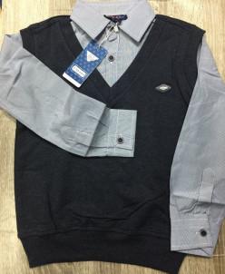 Обманка жилетка-рубашка т-серый меланж