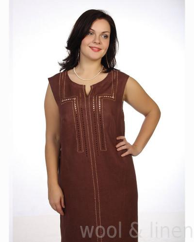 Льняное платье с вышивкой ришелье