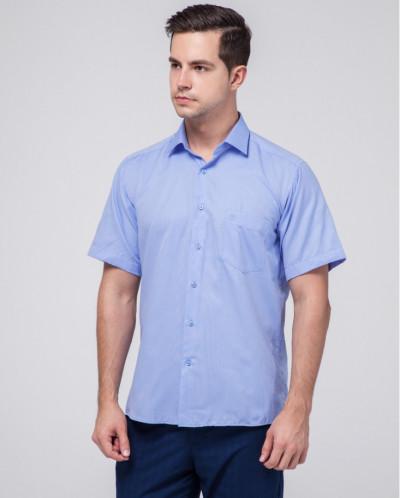 Удобная мужская рубашка Rotelli голубая модель 492/1