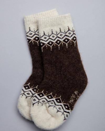 Носки детские из шерсти 100% шоколадный с узором