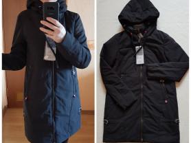 Новое черное осеннее пальто парка 40 42 44 46