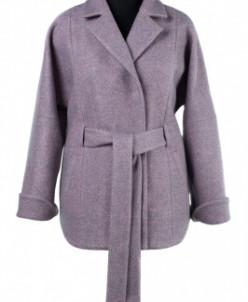 01-8076 Пальто женское демисезонное (пояс) Вареная шерсть Се